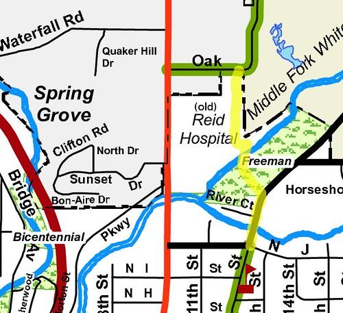 Freeman Park - Oak Drive connector, Richmond Bike Map overlay