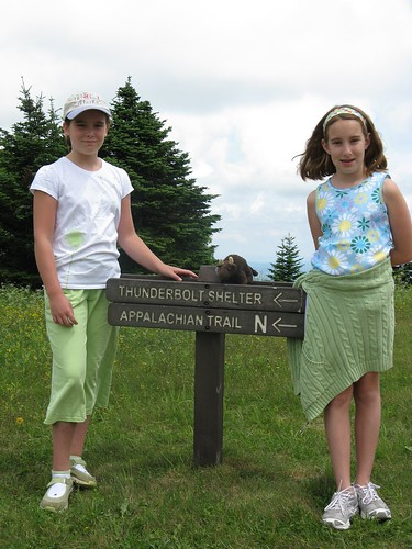 Vivian & Evelyn join Buddy on Mt Greylock SP, highest pt in MA