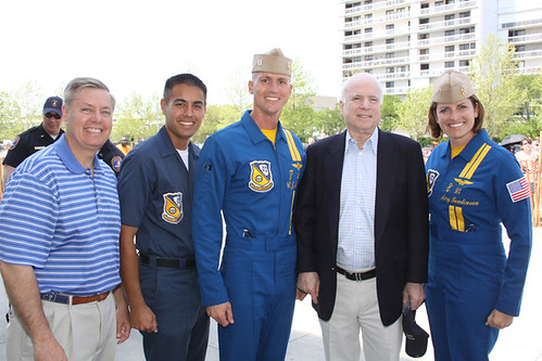 Senator John McCain and Senator Lindsey Graham with the Blue Angels in Charleston, SC - 4/17/10