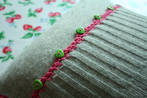 recycled jumper cushion back!
