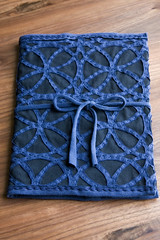 blue and black notebook cover
