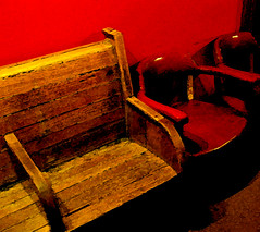 Wooden Bench Red Chairs Wynkoop Brewing Company
