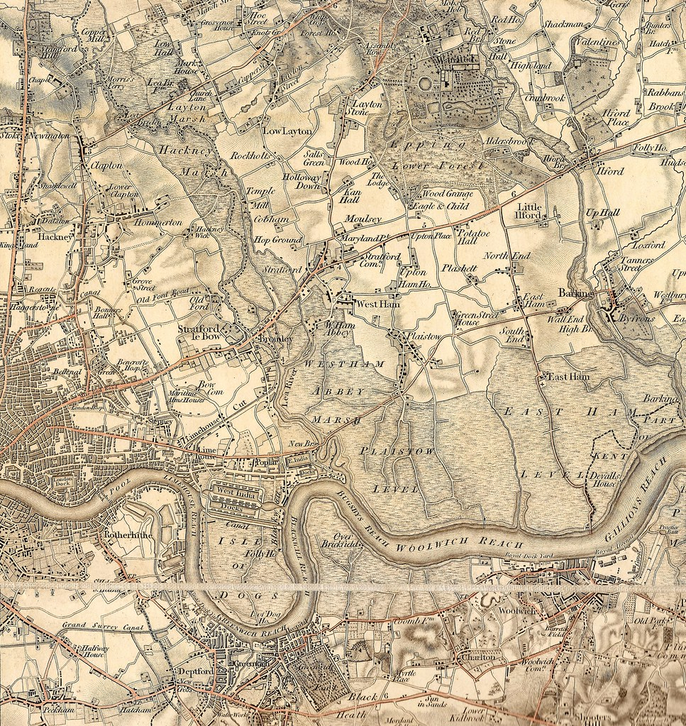 Lee or Lea Valley, East London & River Thames map, c1800