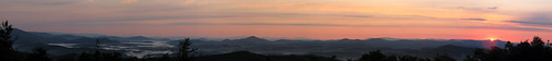 panorama sunrise northcarolina blueridgeparkway photostitch appalachianmountains westernnorthcarolina southernappalachians ccbyncsa canonpowershotsx10is mountjeffersonoverlook