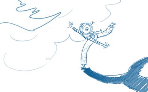 Boceto de una ilustración: una chica juega con un avión de papel
