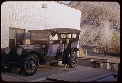 Jean and ancient Packard auto at Scotty's Castle Death Valley
