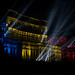Romanian Parliament Palace colorfully lit at night