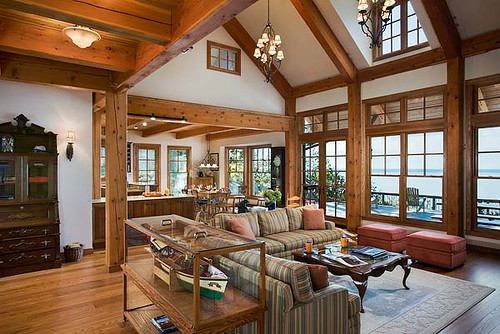 the tuscany iii timber frame home great room