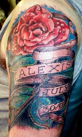 Dewy rose and banner memorial tattoo flickr photo sharing