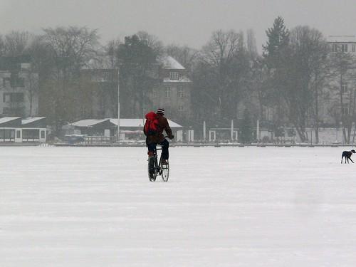 Das kleine Alstereisvergnügen 2012: Radfahrer auf der zugefrorenen Alster