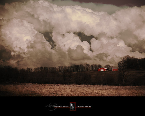 storm clouds nature landscape field farm rural country red barn trees horizon sky midwest fitchburg wisconsin weather dramatic canoneos5d canonef100mmf28macrousm lorenzemlicka photography photo picture image march 2009 spring thunderstorm flickrfrontpage