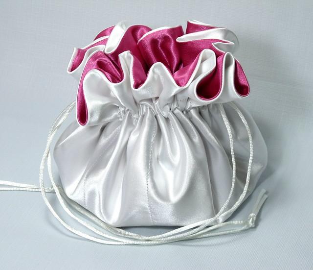 Satin Bridal Purse Drawstring PouchWhite and Hot Pink