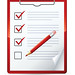 Clipart Illustration of a Red Pencil Marking Of Items On A Check List On A Clipboard