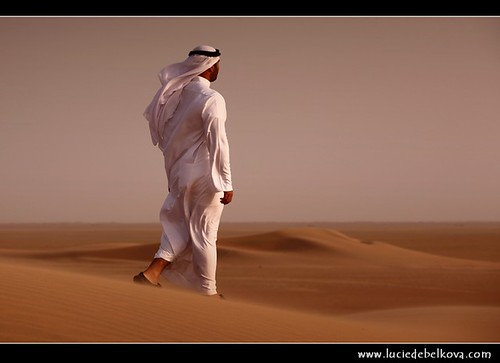 Kuwait - Mysterious Man Walking in Windy Kuwaiti Desert