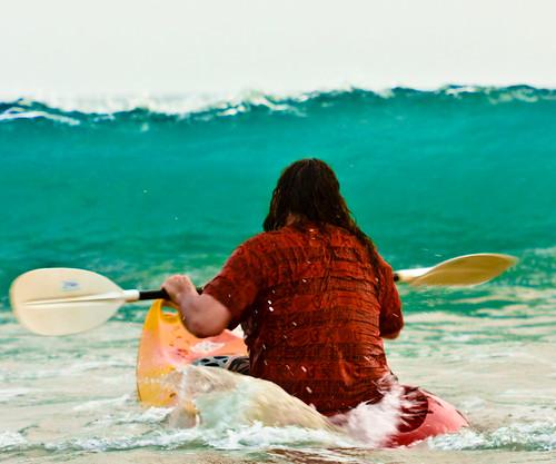 A sea kayaking scene from Palolem Beach, Goa.