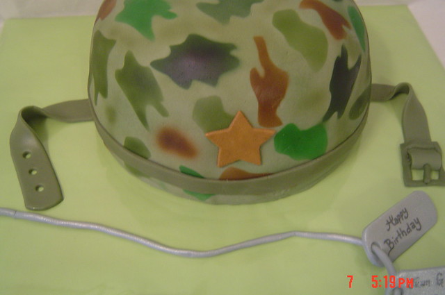 Making Fire Helmet Cake
