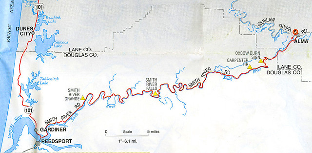 Smith River, Oregon Route Map
