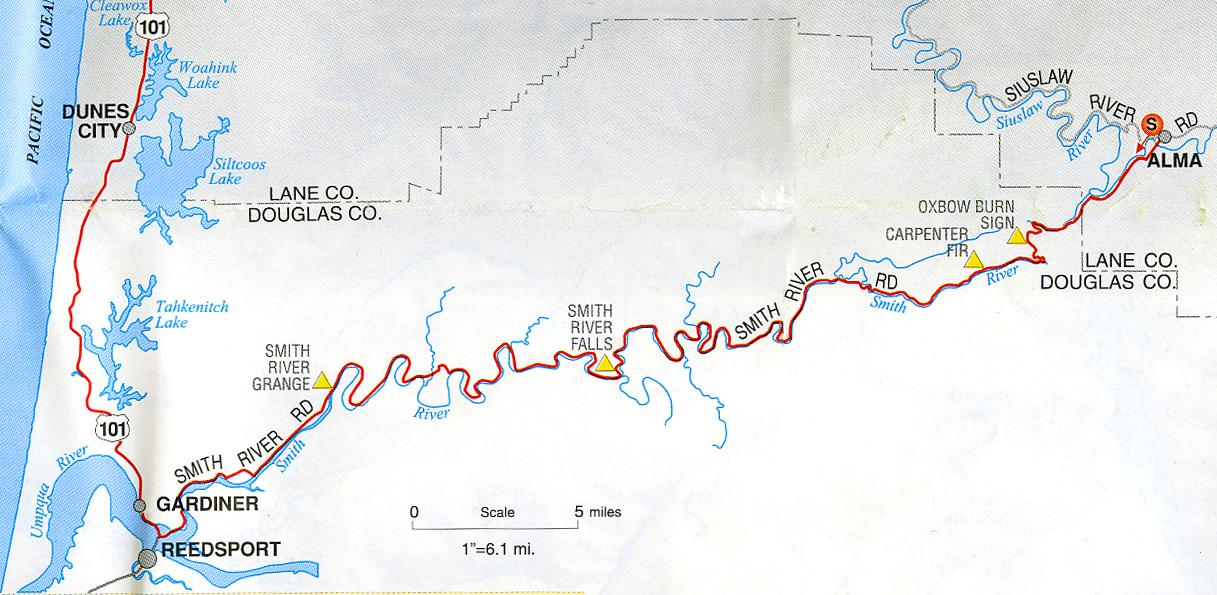Smith River, Oregon Route Map