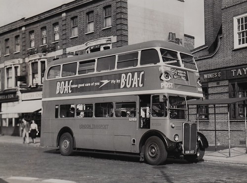 London transport RT2128 on route 89 Lewisham 1950's.