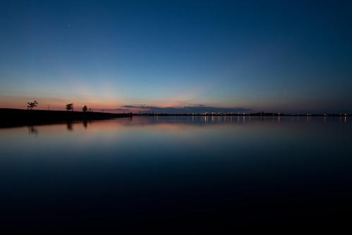 longexposure blue sunset lake water calm