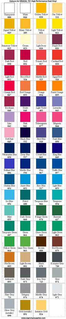 oracal 751 vinyl colour chart