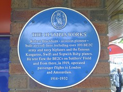 Photo of Robert Blackburn and Olympia Works blue plaque