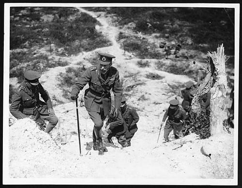 H.M. climbing to the Butte de Warlancourt