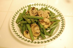 produce(0.0), vegetable(1.0), vegetarian food(1.0), green bean(1.0), food(1.0), dish(1.0), cuisine(1.0),