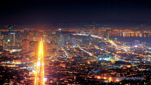 San Francisco's famous Market Steet and Bay Bridge - California