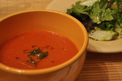 produce(0.0), vegetable(1.0), tomato soup(1.0), bisque(1.0), food(1.0), dish(1.0), soup(1.0), cuisine(1.0),