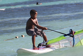 Local boy learns to windsurf