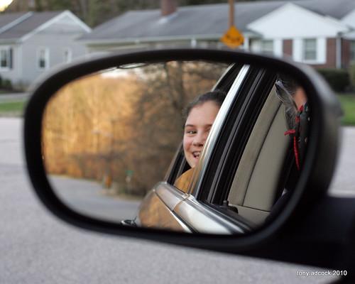 silly car mirror ride kate rearviewmirror carwindow