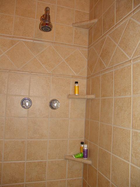 ceramic tile shower with shelves flickr photo sharing. Black Bedroom Furniture Sets. Home Design Ideas
