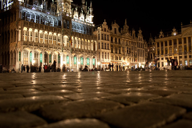 The Grote Markt (Grand Place) of Brussels.  17th century guildhouses and more.
