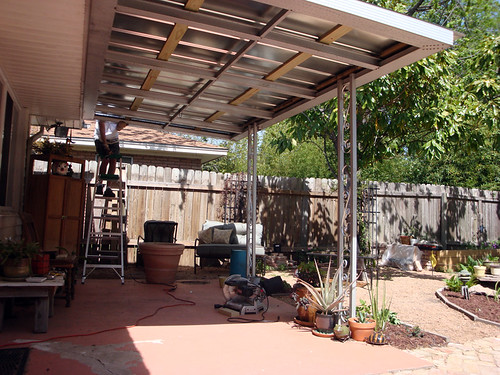 crafty mishmash new metal roof on our patio