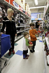 choosing a toy in the transformers aisle