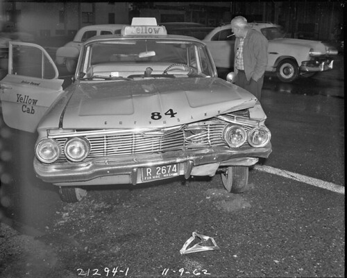 Taxi in accident on Aurora Avenue, 1962