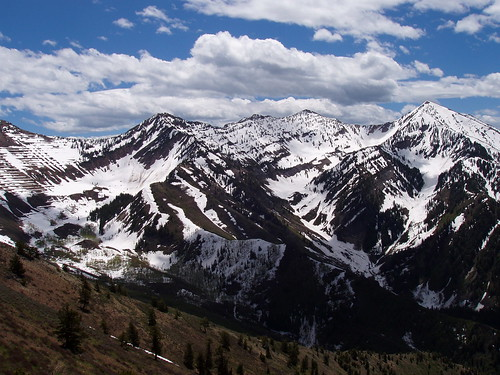 The back of Rock Canyon, with Freedom Peak on the left, and Provo Peak on the right.
