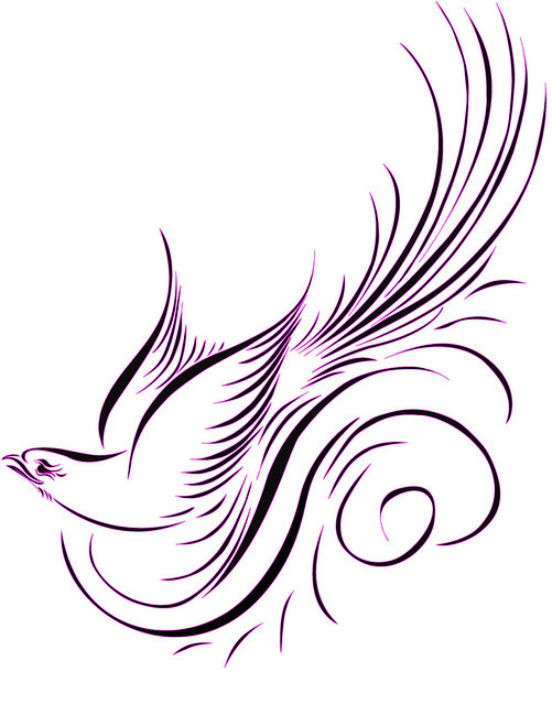 Calligraphy Bird Vector One Of The First Exercises Using