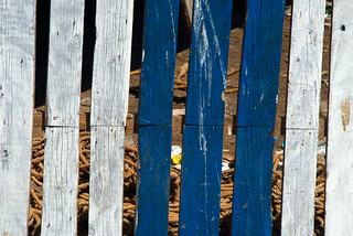 blue &white fence