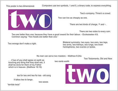 "Two. Various sayings involving the word, ""two."""