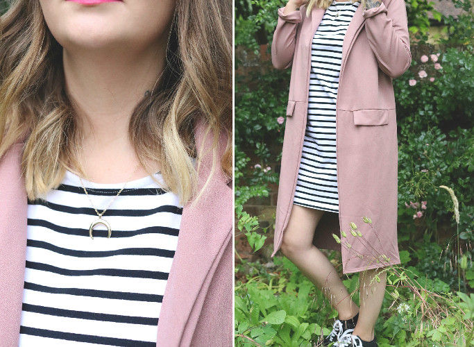 chichi clothing, chi chi clothing, pink duster coat, katelouiseblog, how to style pink, how to wear pink, vans, stripe t-shirt dress, style blog, how to style a t-shirt dress, happiness boutique,