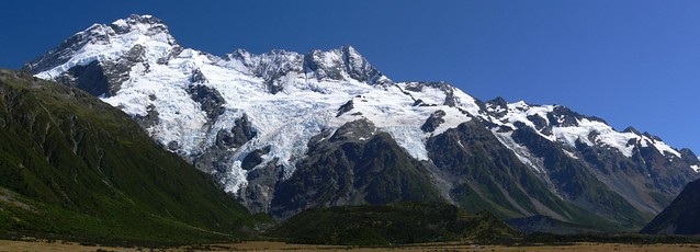 NZ Southern Alps viewed from Mount Cook Village plains (Panorama)