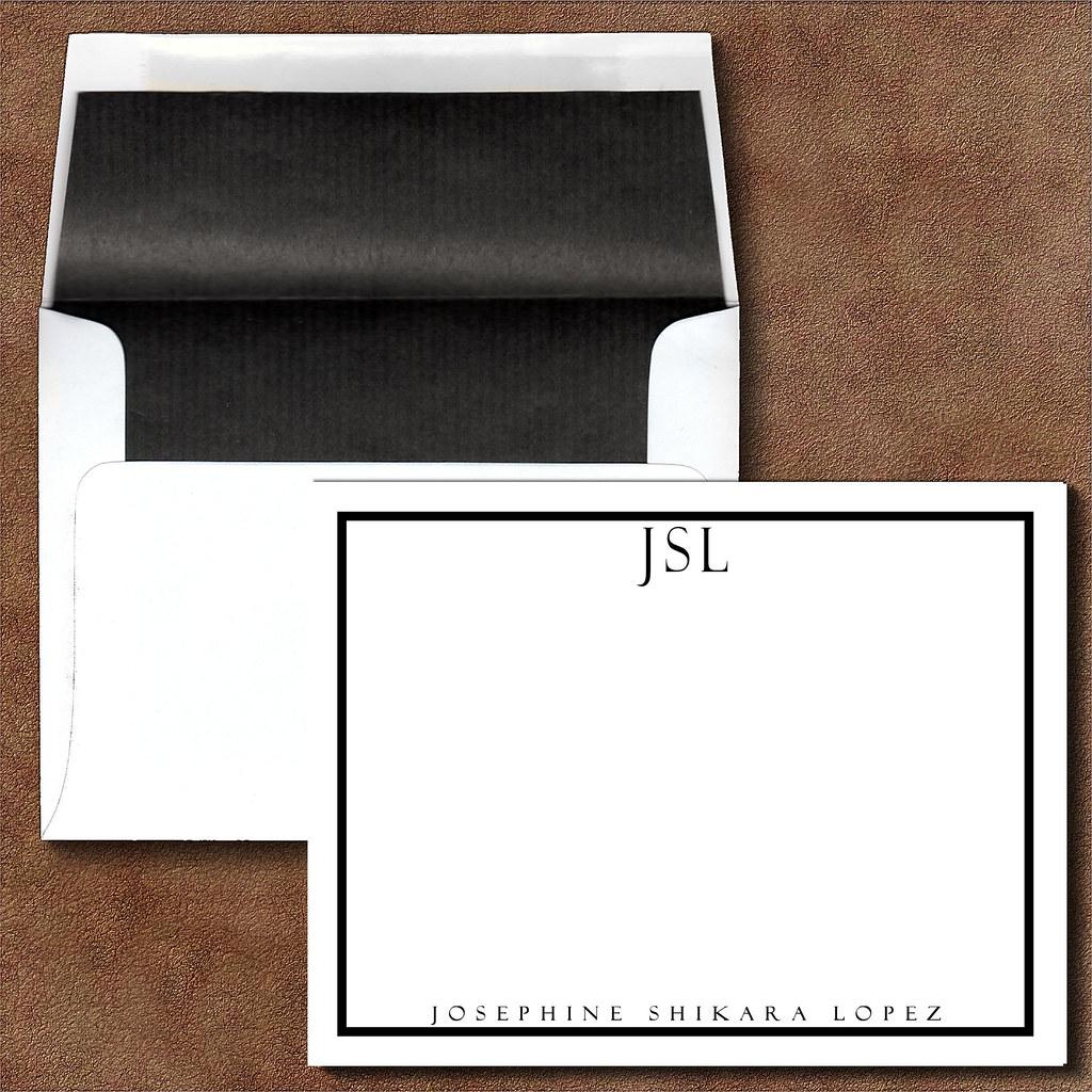 custom personalized correspondence thank you note cards monogram initial name executive black bordered black lined envelope - Initial Note Cards