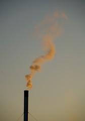 gas flare, sunlight, smoke, wind, sky,