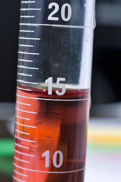 red liquid in test tube micro measurement