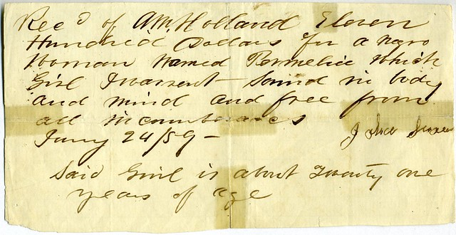 Receipt for sale of Permelia, an African-American slave woman