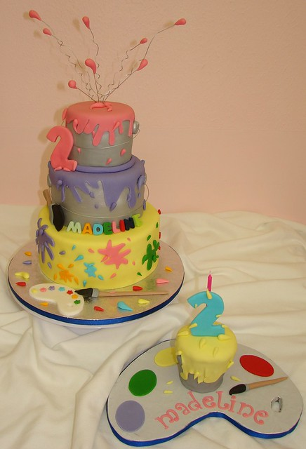 Painting Theme Birthday Cake And Smash Paint Can Cupcake