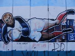 Alan Knight, Portsmouth goalkeeper, in graffiti at Fratton Park