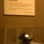 """The Morris Internet Worm source code"" on a 3.5"" floppy disk at the Museum of Science"
